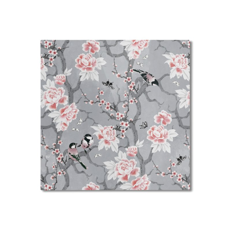 Chinoiserie birds in grey Home Mounted Aluminum Print by AdenaJ