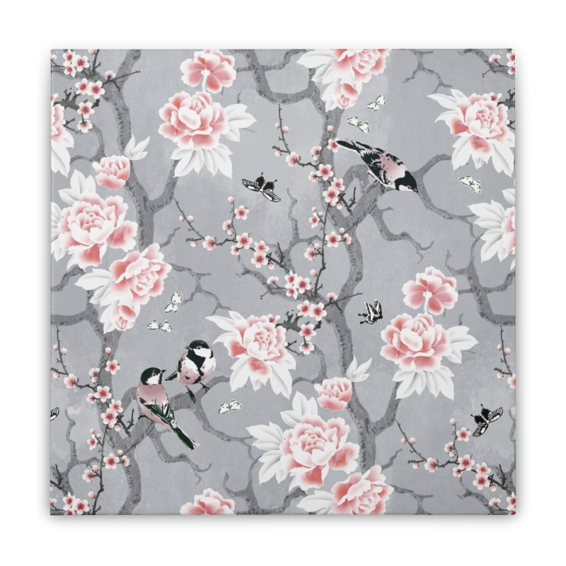 Chinoiserie birds in grey Home Stretched Canvas by AdenaJ