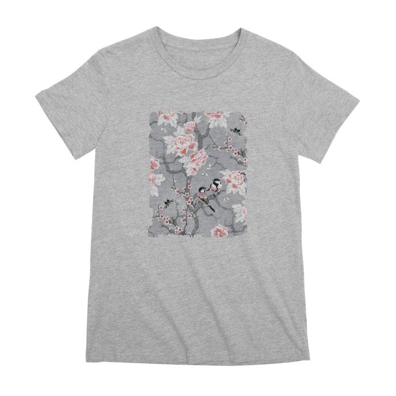 Chinoiserie birds in grey Women's Premium T-Shirt by AdenaJ