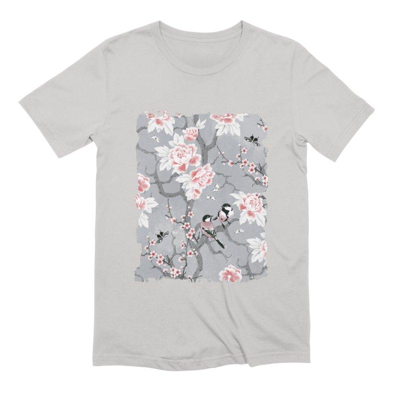 Chinoiserie birds in grey Men's Extra Soft T-Shirt by AdenaJ