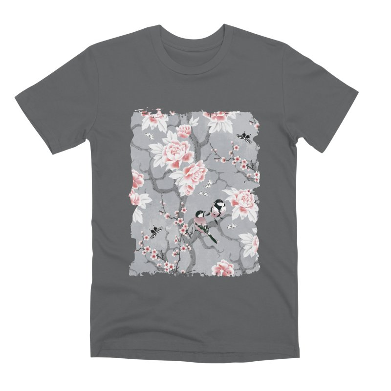 Chinoiserie birds in grey Men's Premium T-Shirt by AdenaJ