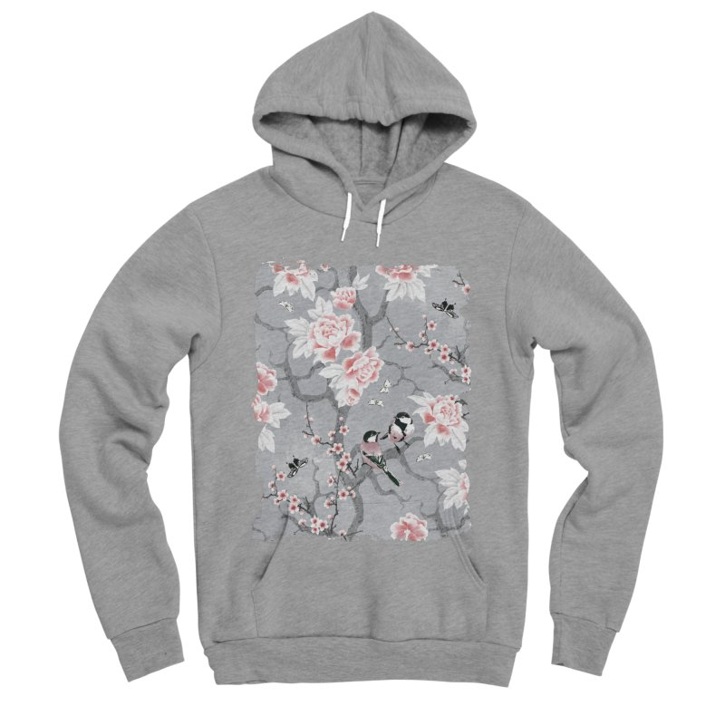 Chinoiserie birds in grey Women's Sponge Fleece Pullover Hoody by AdenaJ