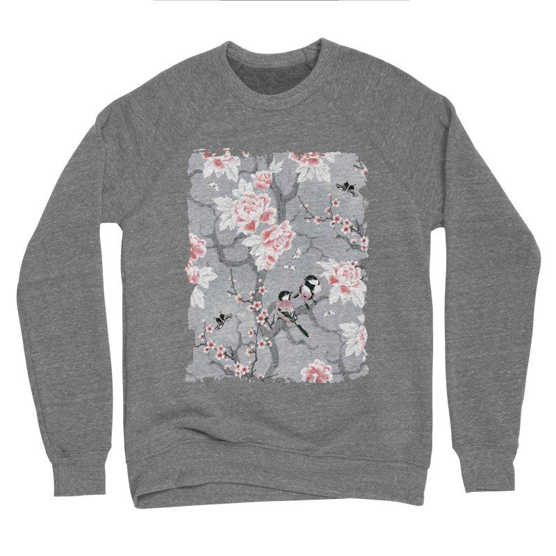 Chinoiserie birds in grey Women's Sponge Fleece Sweatshirt by AdenaJ