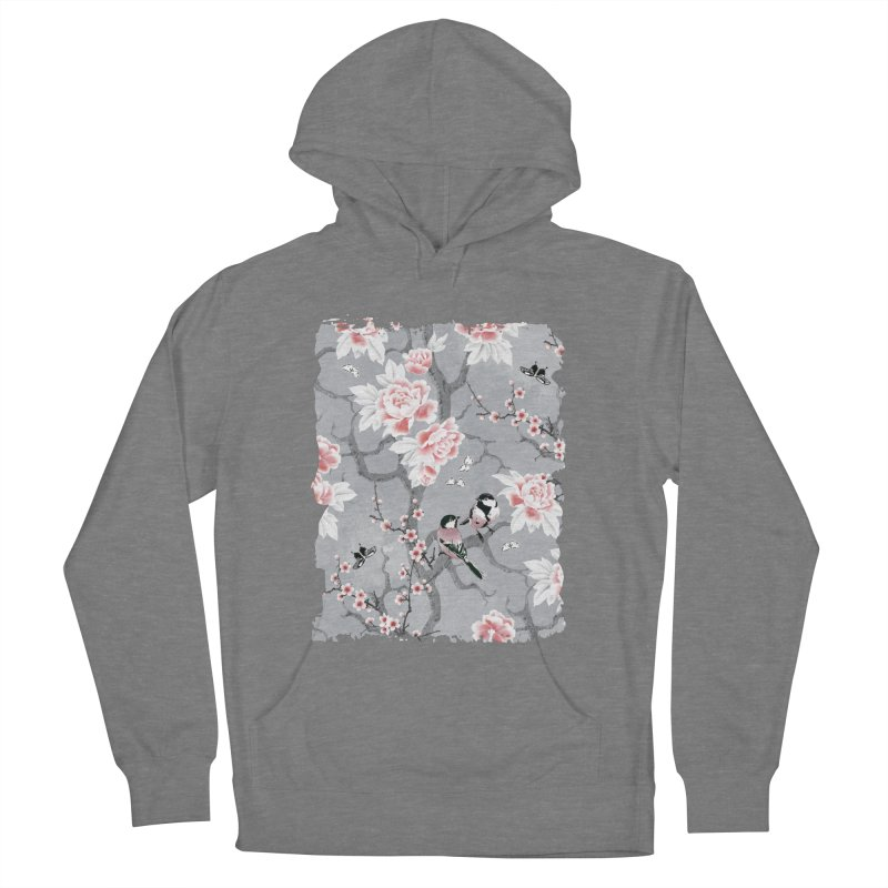 Chinoiserie birds in grey Women's French Terry Pullover Hoody by AdenaJ