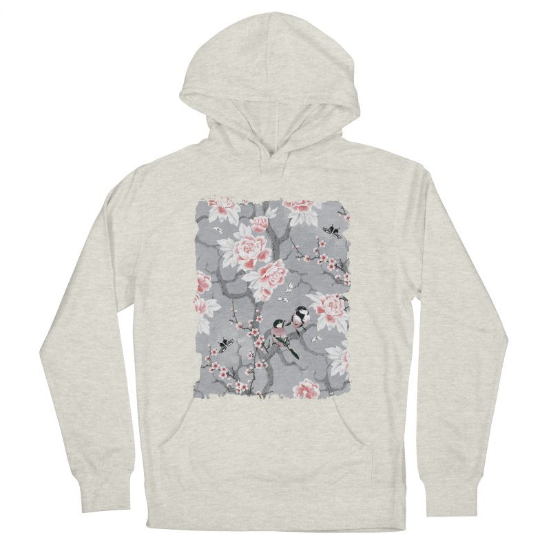 Chinoiserie birds in grey Men's French Terry Pullover Hoody by AdenaJ