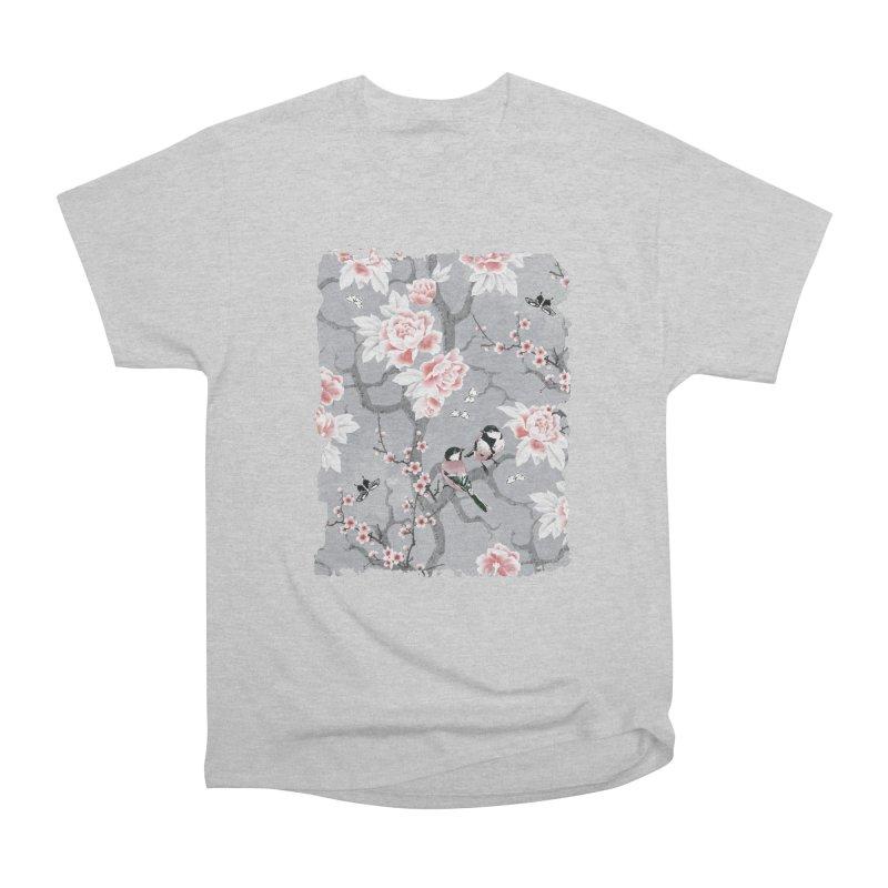 Chinoiserie birds in grey Women's Heavyweight Unisex T-Shirt by AdenaJ