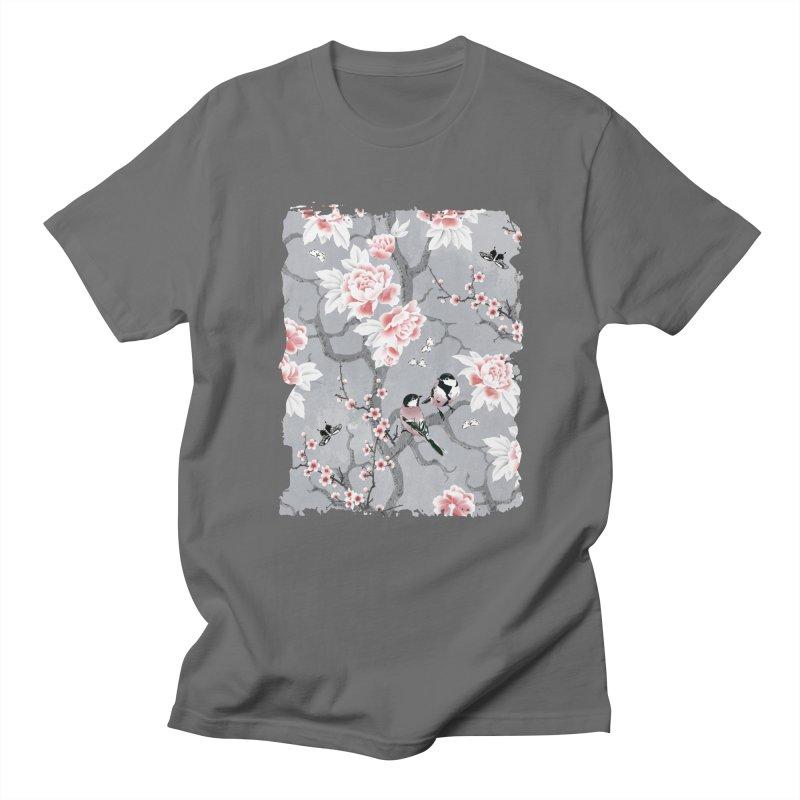 Chinoiserie birds in grey Men's Regular T-Shirt by AdenaJ
