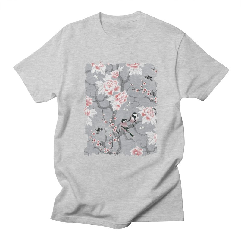 Chinoiserie birds in grey Women's Regular Unisex T-Shirt by AdenaJ