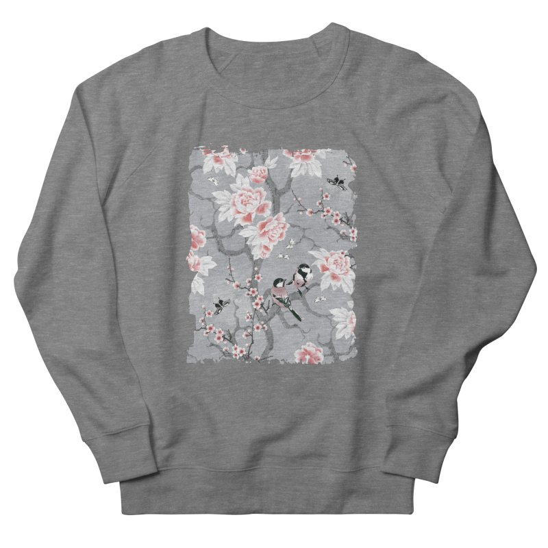 Chinoiserie birds in grey Men's French Terry Sweatshirt by AdenaJ