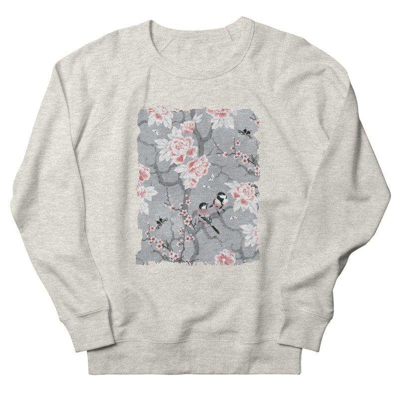 Chinoiserie birds in grey Men's French Terry Sweatshirt by AdenaJ