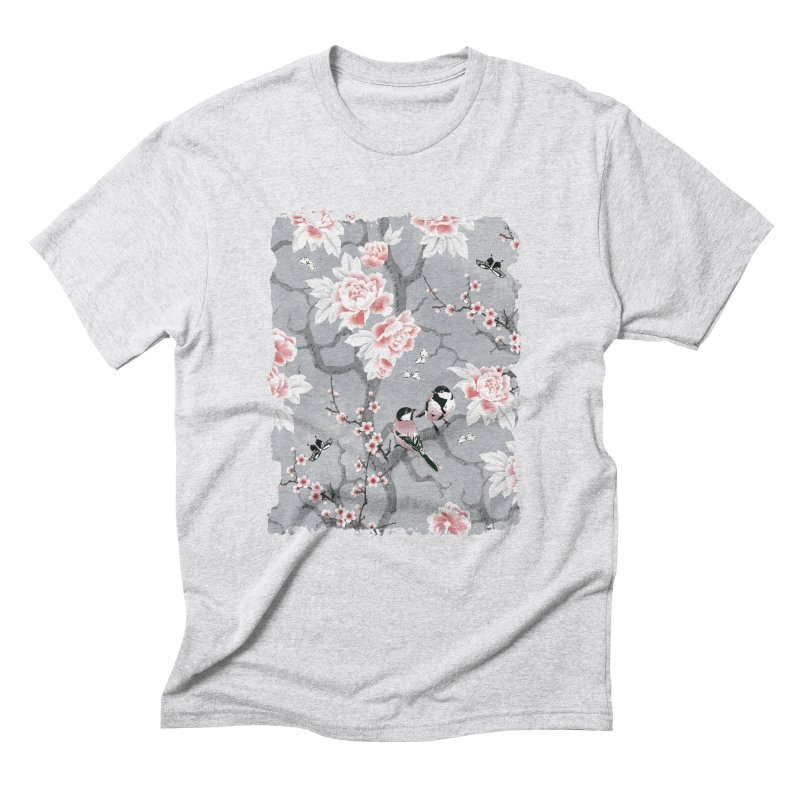 Chinoiserie birds in grey Men's Triblend T-Shirt by AdenaJ