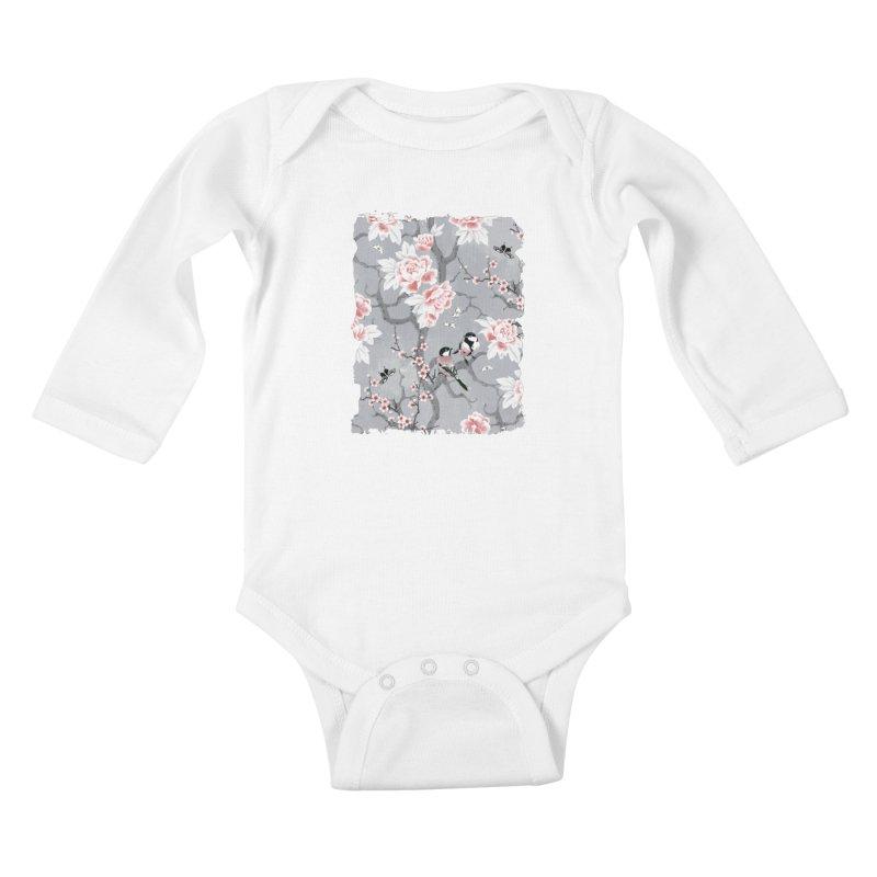 Chinoiserie birds in grey Kids Baby Longsleeve Bodysuit by AdenaJ