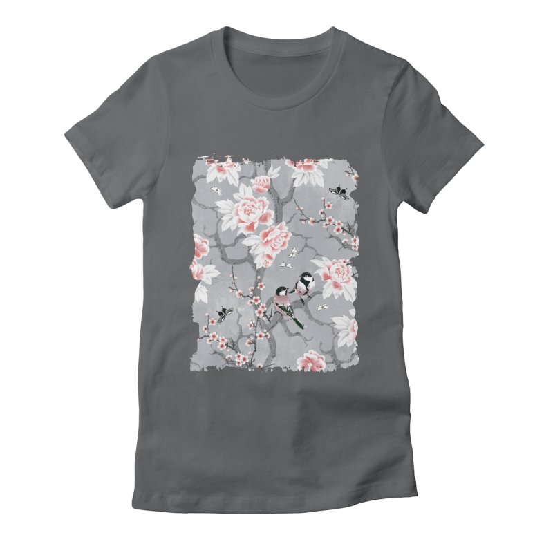 Chinoiserie birds in grey Women's Fitted T-Shirt by AdenaJ
