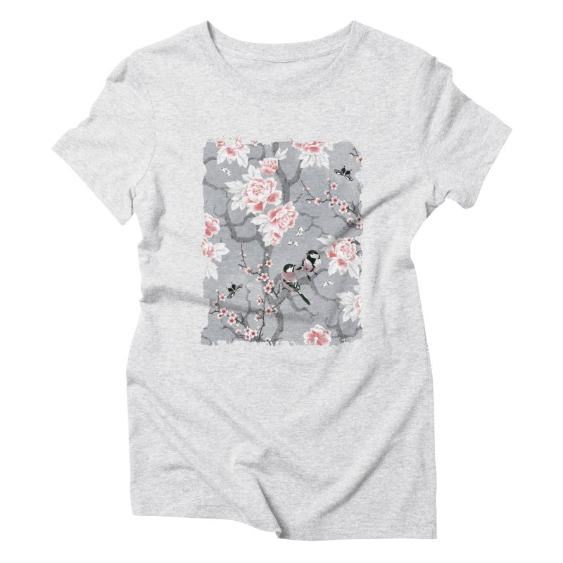 Chinoiserie birds in grey Women's Triblend T-Shirt by AdenaJ