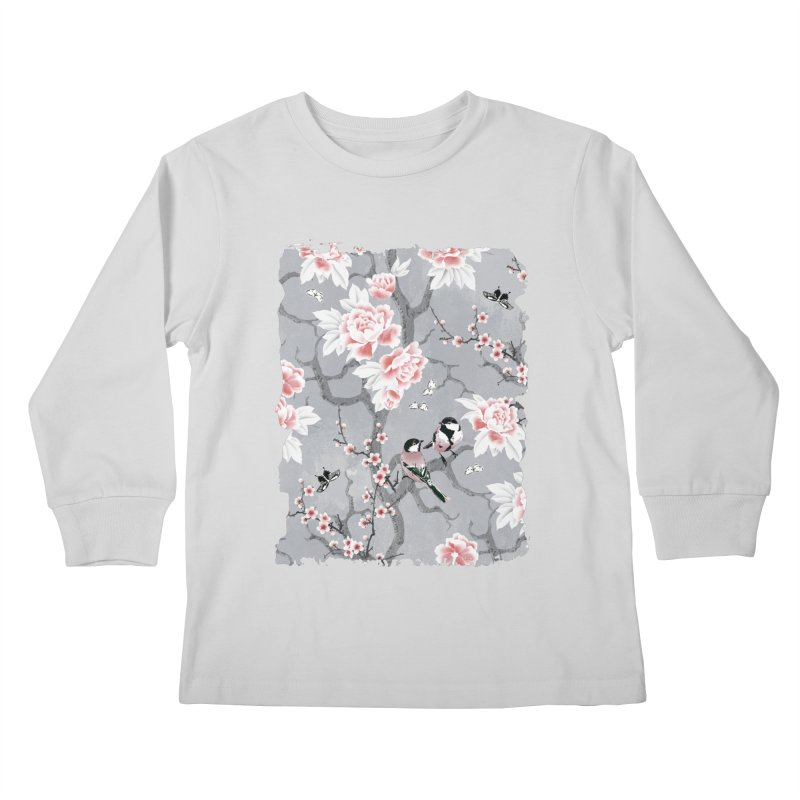 Chinoiserie birds in grey Kids Longsleeve T-Shirt by AdenaJ