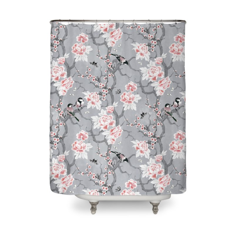 Chinoiserie birds in grey Home Shower Curtain by AdenaJ