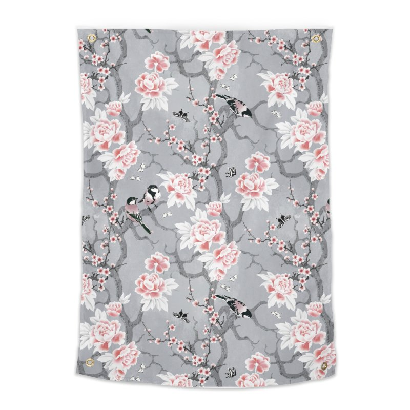 Chinoiserie birds in grey Home Tapestry by AdenaJ
