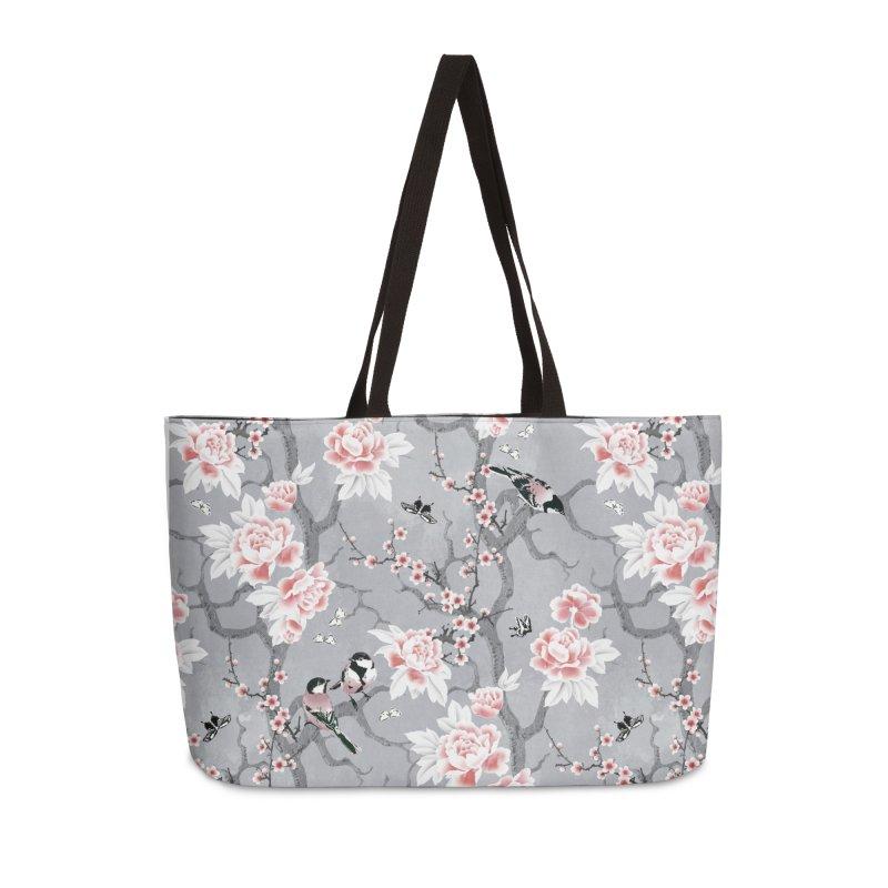 Chinoiserie birds in grey Accessories Weekender Bag Bag by AdenaJ