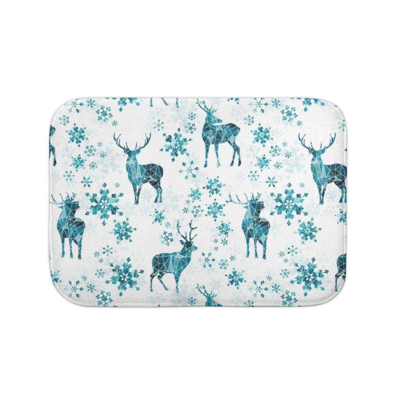 Snow deer Home Bath Mat by AdenaJ