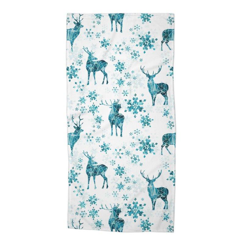 Snow deer Accessories Beach Towel by AdenaJ
