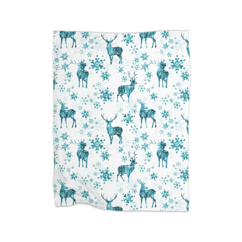 Snow deer Home Fleece Blanket Blanket by AdenaJ