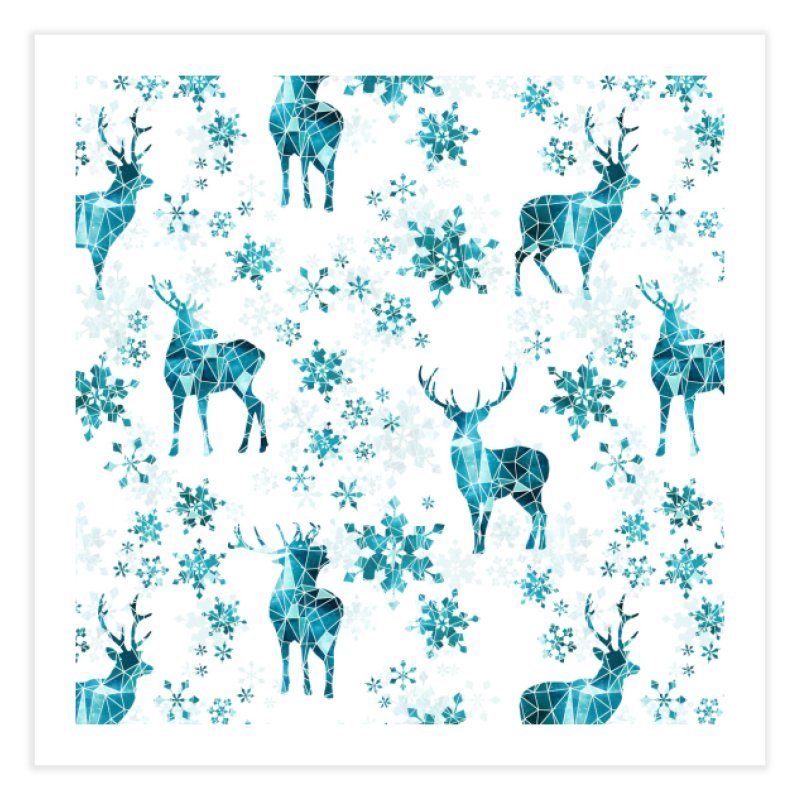Snow deer Home Fine Art Print by AdenaJ
