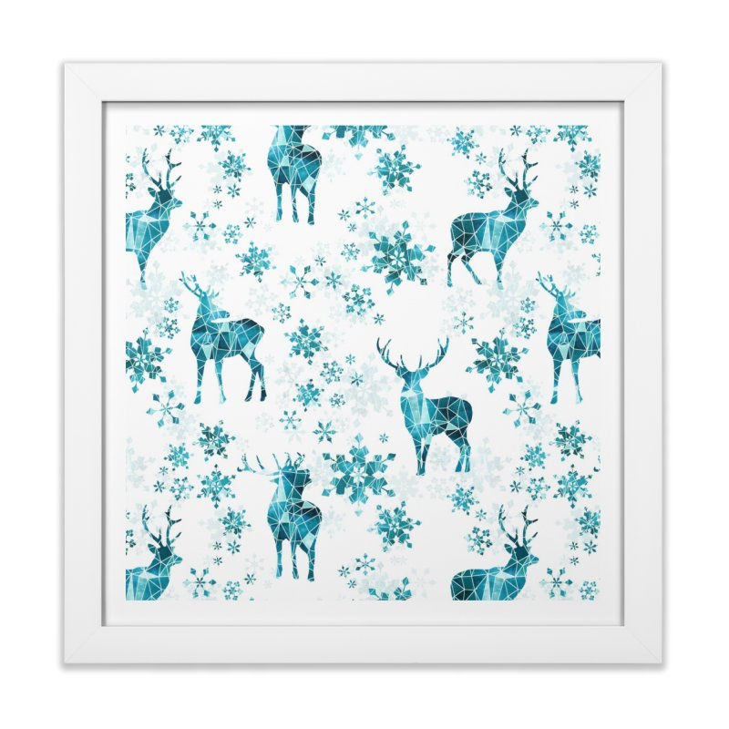 Snow deer Home Framed Fine Art Print by AdenaJ