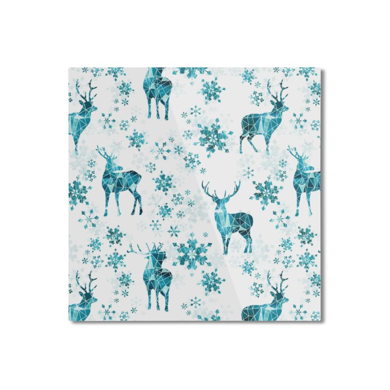 Snow deer Home Mounted Aluminum Print by AdenaJ