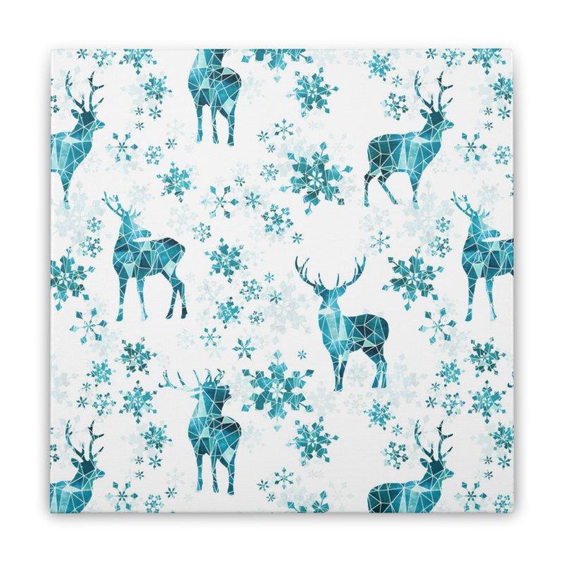 Snow deer Home Stretched Canvas by AdenaJ