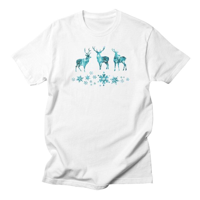 Snow deer Men's Regular T-Shirt by AdenaJ