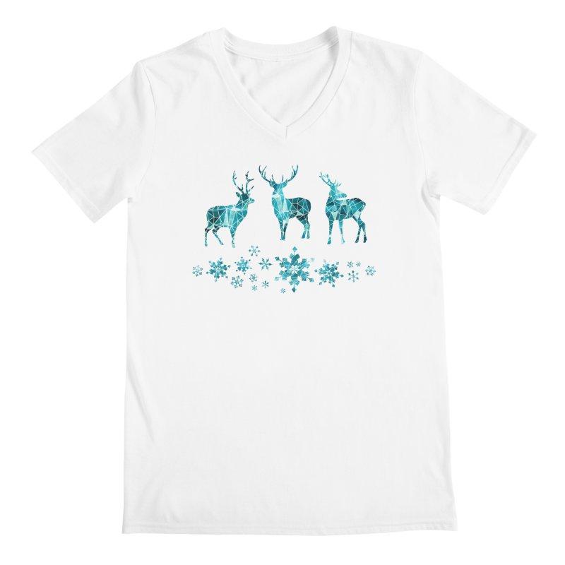 Snow deer Men's Regular V-Neck by AdenaJ