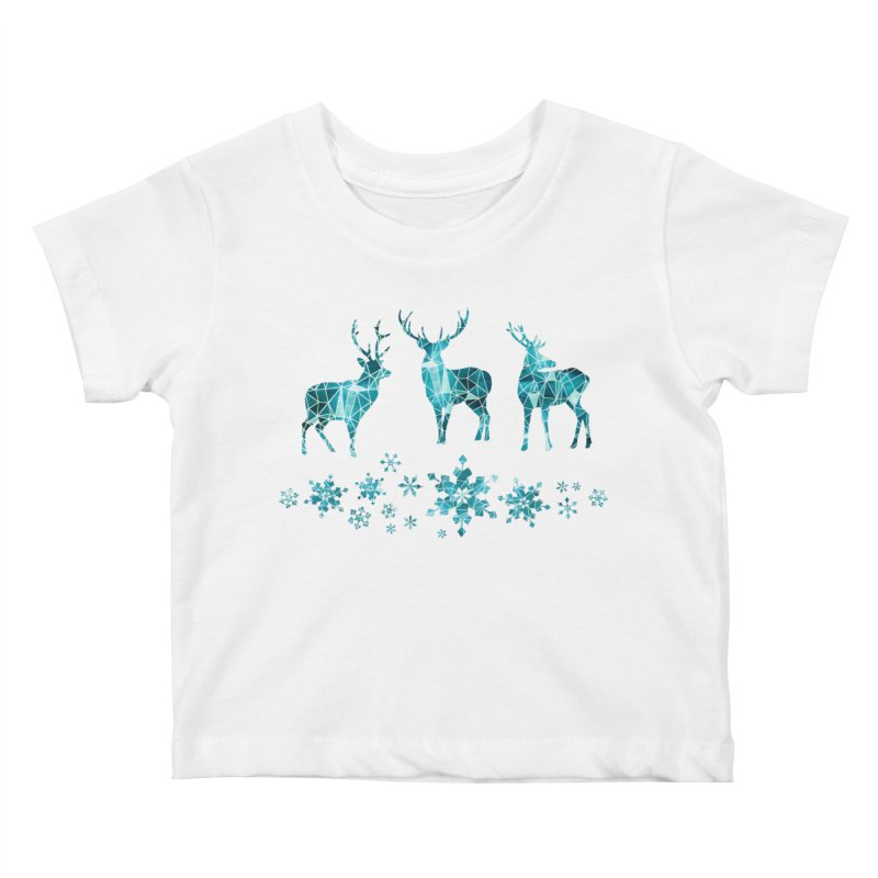 Snow deer Kids Baby T-Shirt by AdenaJ