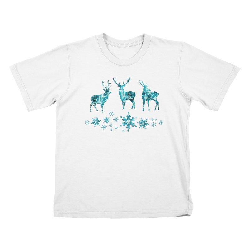 Snow deer Kids T-Shirt by AdenaJ