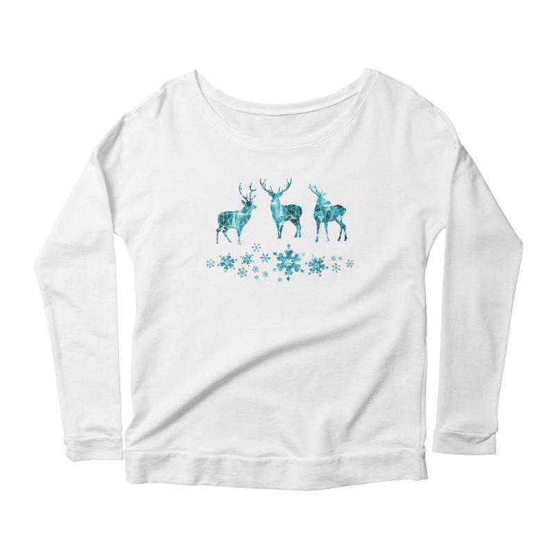Snow deer Women's Scoop Neck Longsleeve T-Shirt by AdenaJ