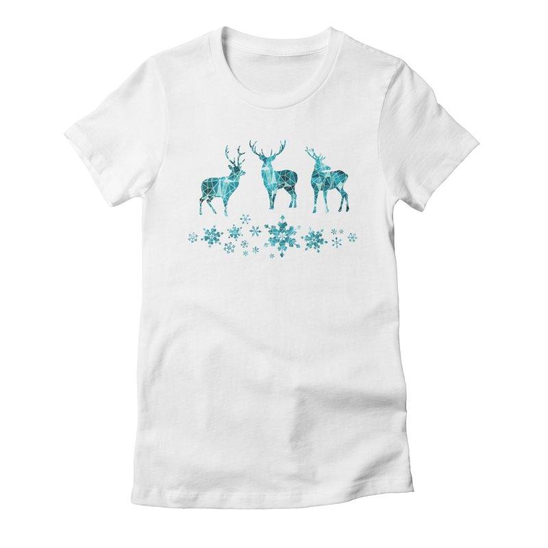 Snow deer Women's Fitted T-Shirt by AdenaJ