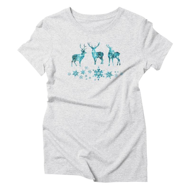 Snow deer Women's Triblend T-Shirt by AdenaJ