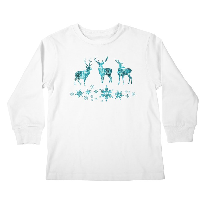 Snow deer Kids Longsleeve T-Shirt by AdenaJ