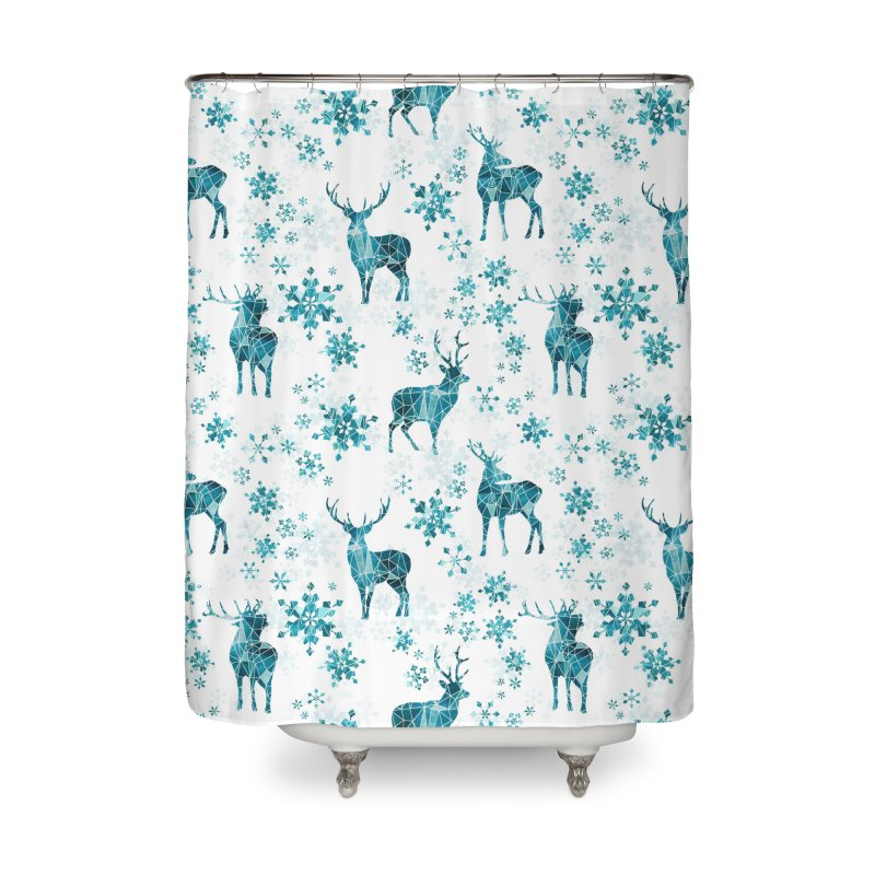 Snow deer Home Shower Curtain by AdenaJ