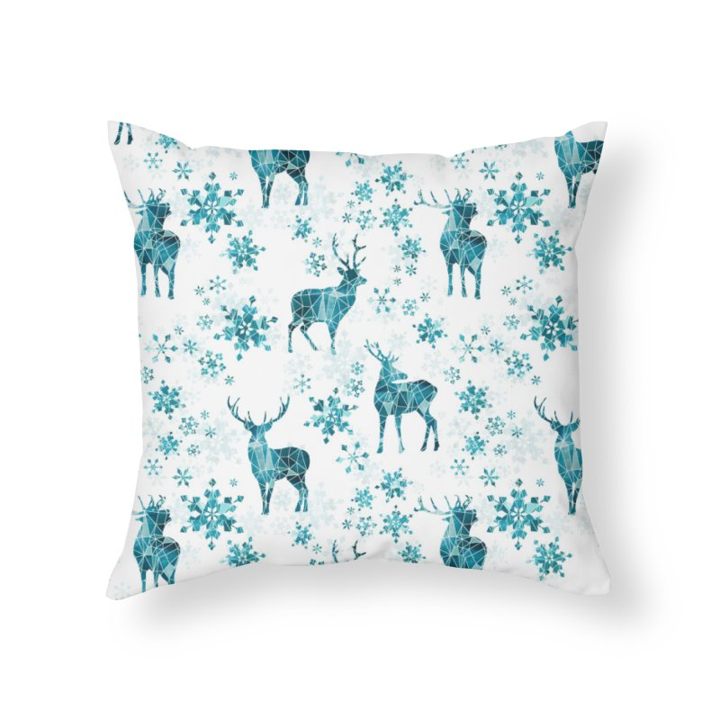 Snow deer Home Throw Pillow by AdenaJ
