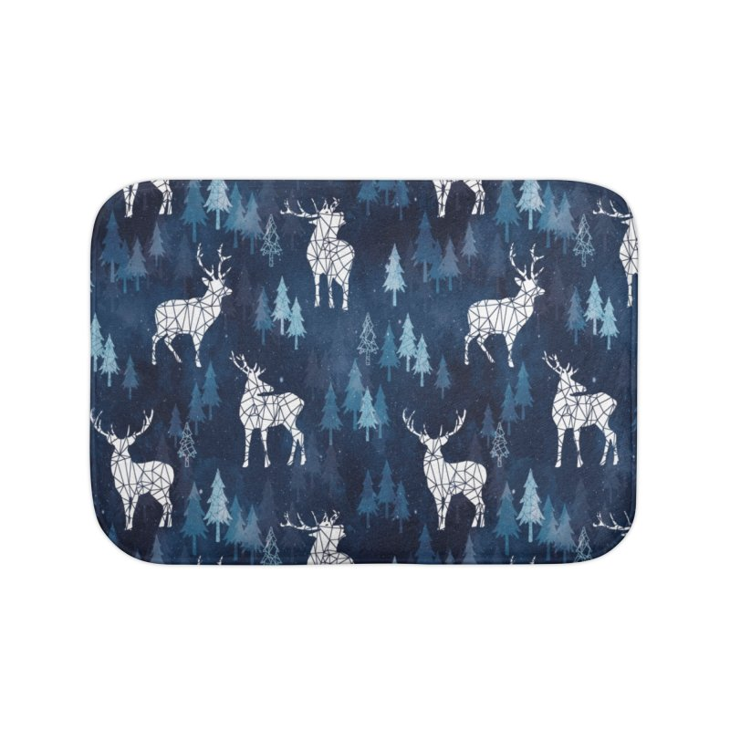 Snow deer navy blue Home Bath Mat by AdenaJ