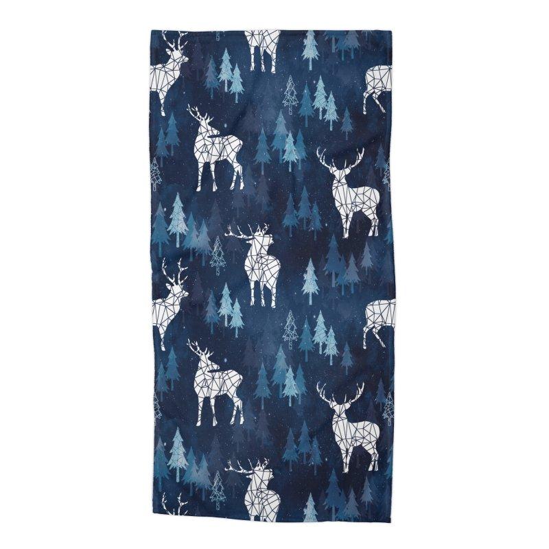 Snow deer navy blue Accessories Beach Towel by AdenaJ