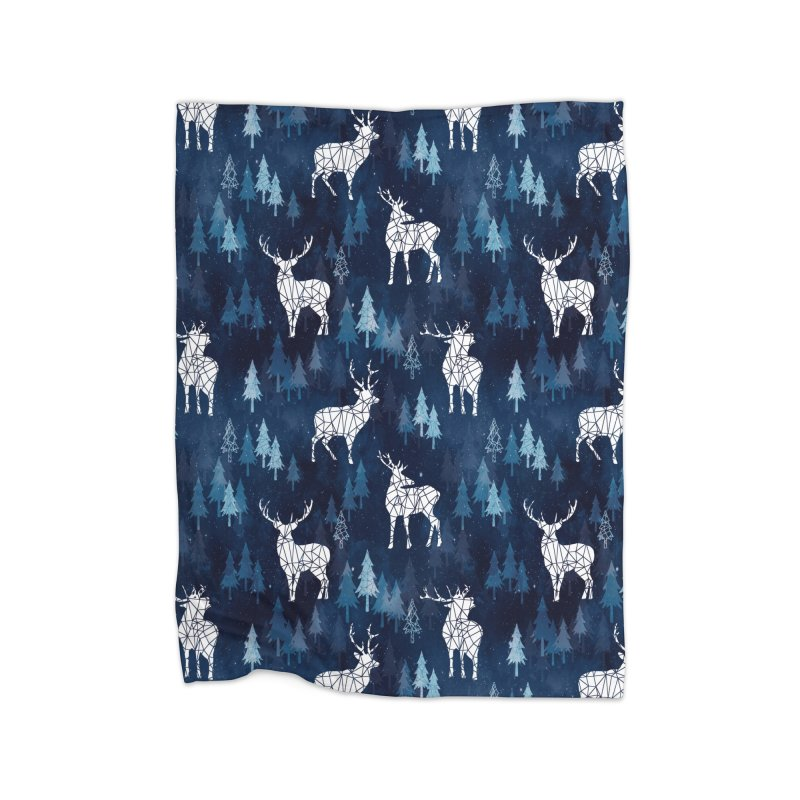 Snow deer navy blue in Fleece Blanket Blanket by AdenaJ