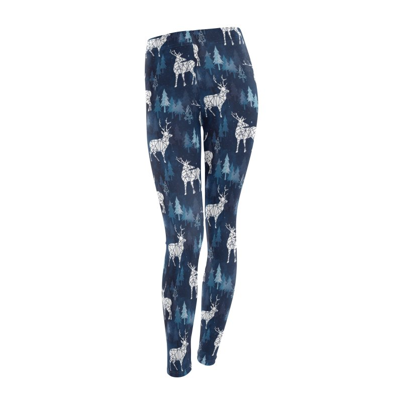 Snow deer navy blue Women's Leggings Bottoms by AdenaJ