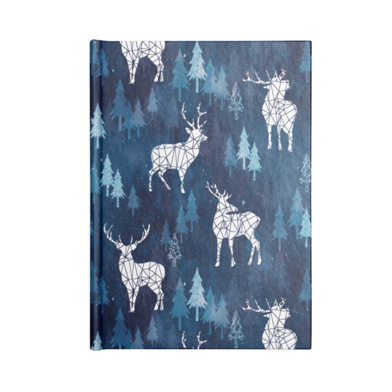 Snow deer navy blue Accessories Blank Journal Notebook by AdenaJ