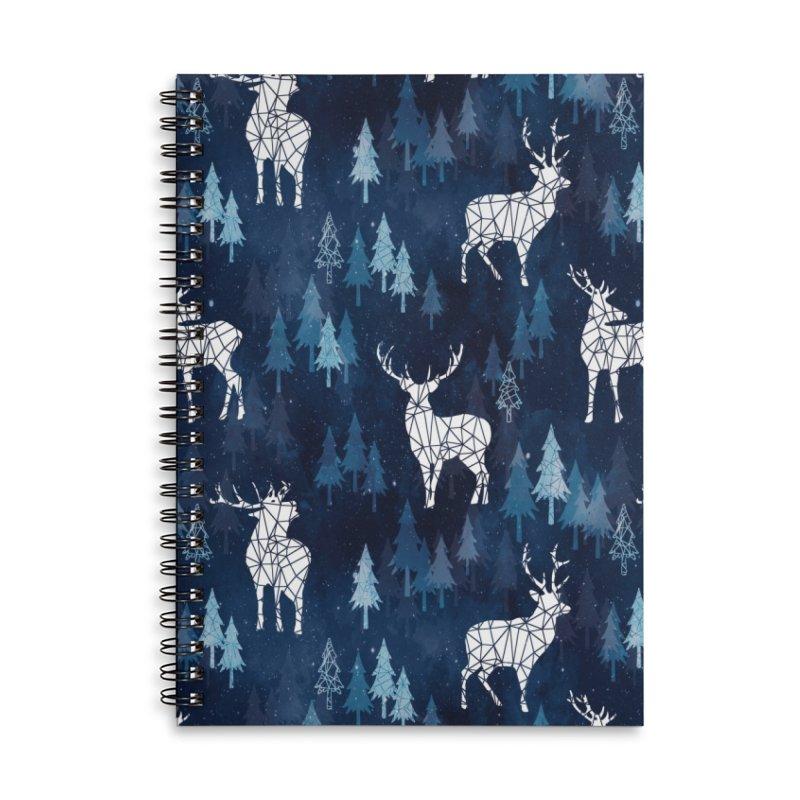 Snow deer navy blue Accessories Lined Spiral Notebook by AdenaJ