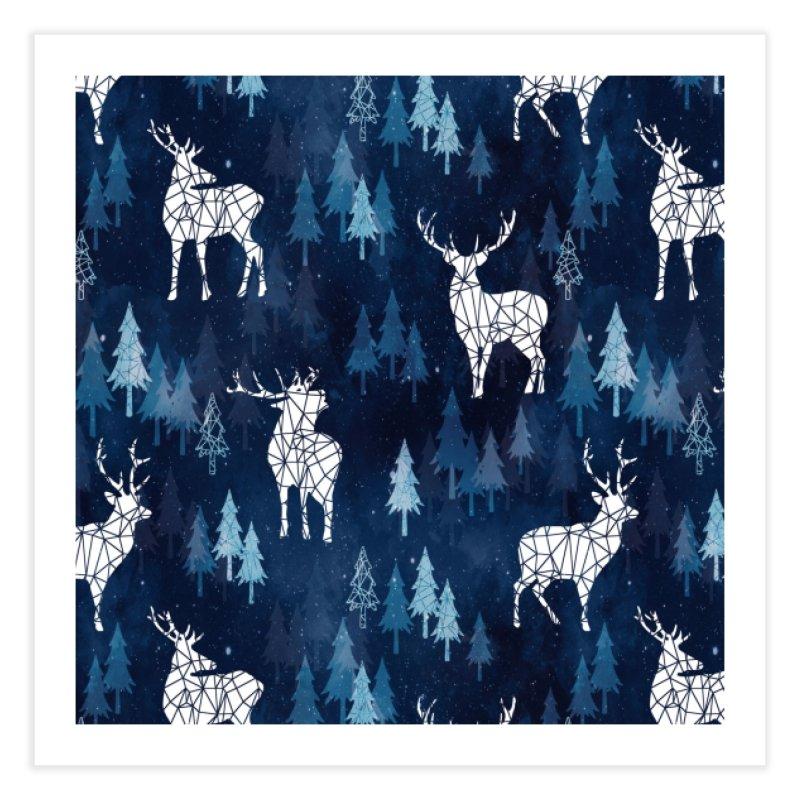 Snow deer navy blue Home Fine Art Print by AdenaJ