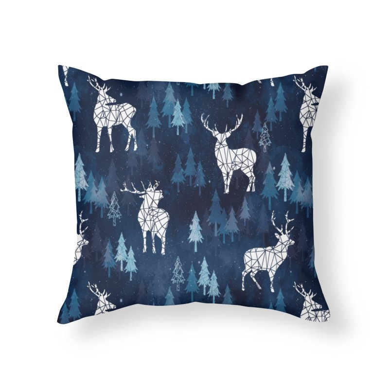 Snow deer navy blue Home Throw Pillow by AdenaJ