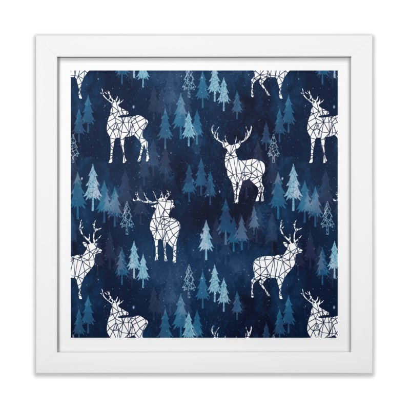 Snow deer navy blue Home Framed Fine Art Print by AdenaJ