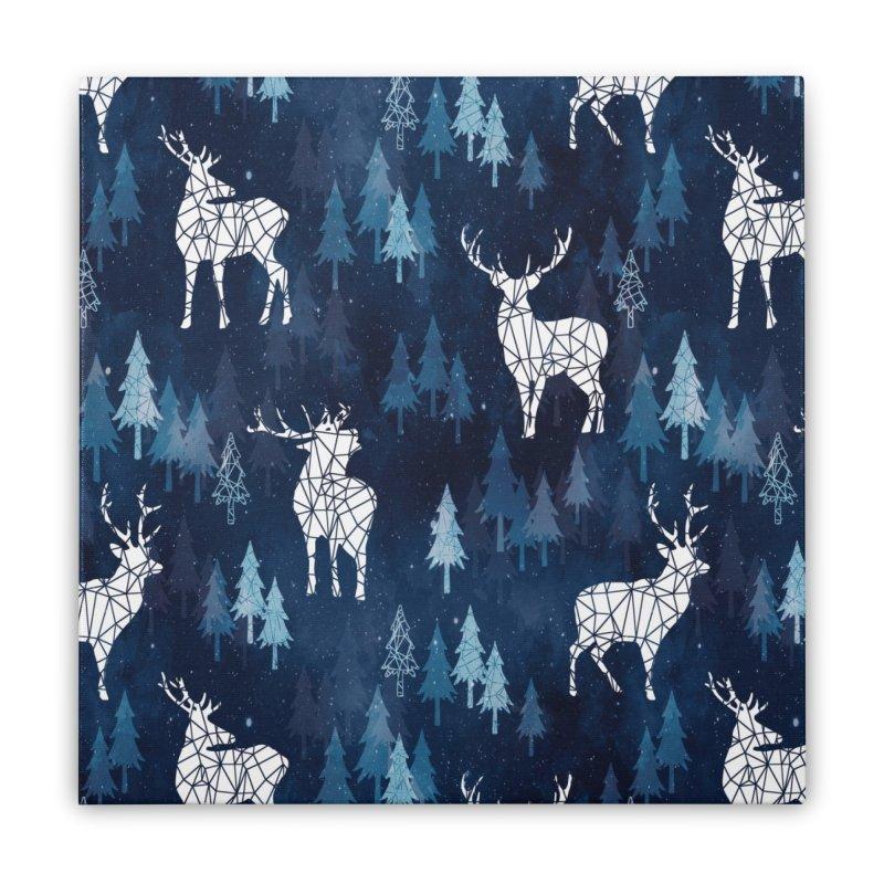 Snow deer navy blue Home Stretched Canvas by AdenaJ