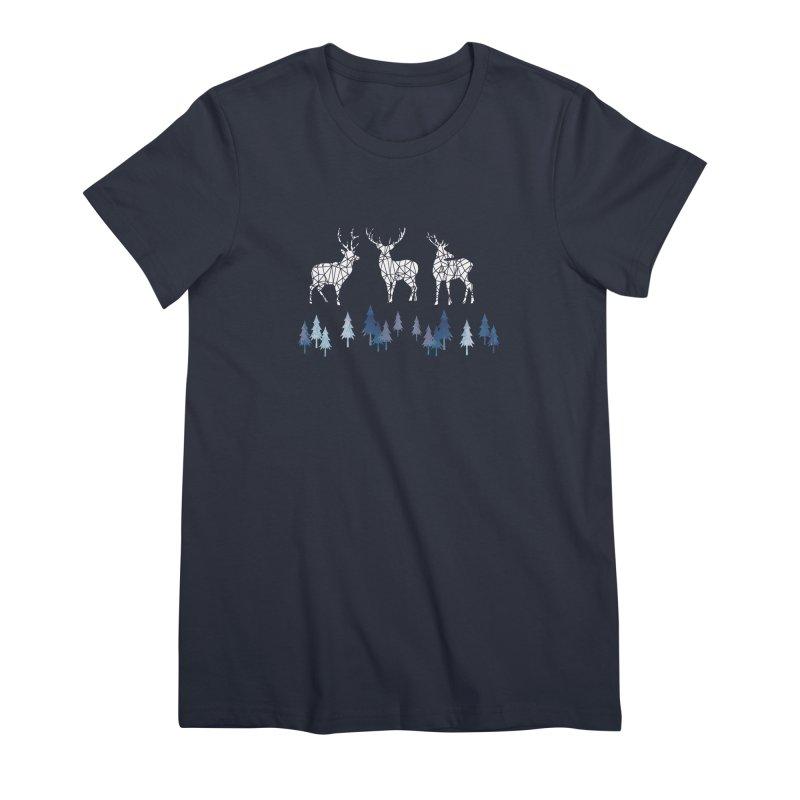 Snow deer navy blue Women's Premium T-Shirt by AdenaJ